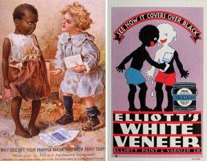 Menino branco pergunta para negro por que a mãe dele não o lava com um certo sabão.